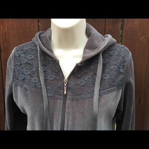 Soft Gray Zipper Hoodie With Lace Detail. Sz Small